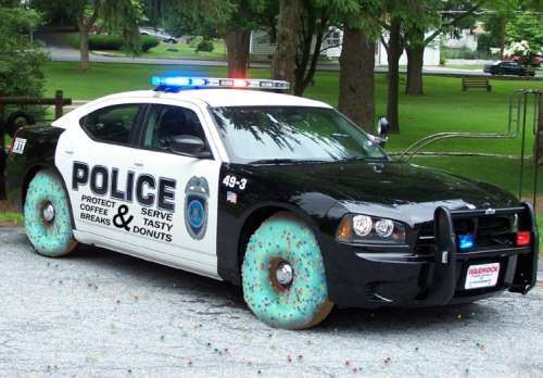 police-car-with-donut-wheels